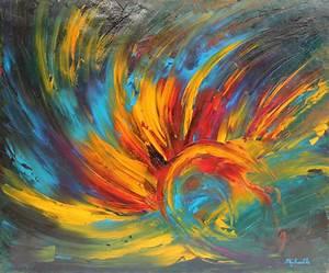 Tableau Peinture Sur Toile : tableau eveil 60x50 cm peinture abstraite contemporaine l 39 huile sur toile de micha lle ~ Teatrodelosmanantiales.com Idées de Décoration