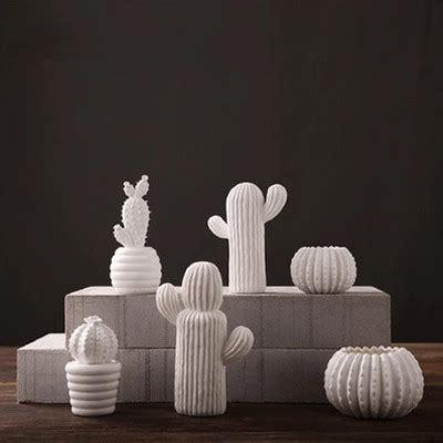 handmade creative ceramic white cactus ornaments living