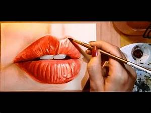 Watercolor tutorial video: how to paint a realistic mouth ...