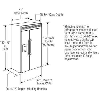 monogram zispdhss  built  professional side  side refrigerator  advanced