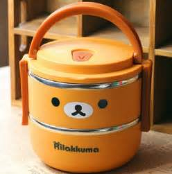 Relaxed insulation box bear stainless steel double layer insulation boxes student lunch box cartoon