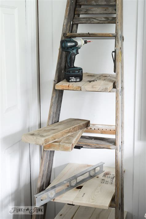 upcycled stepladder side table  shelves