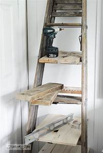Make An Upcycled Stepladder Side Table With Shelves