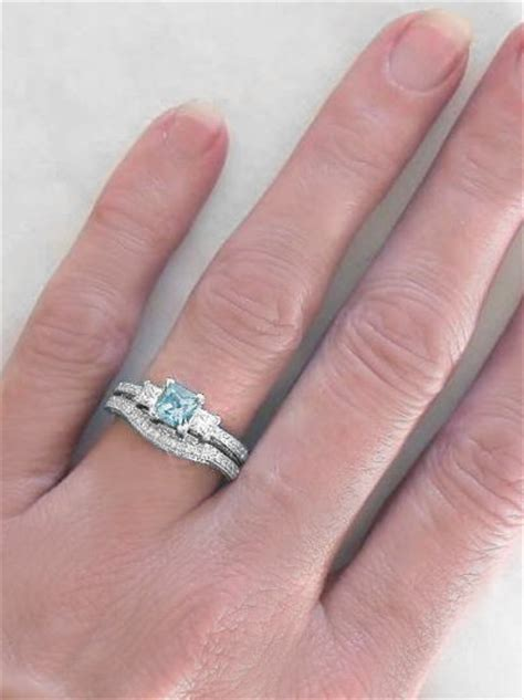 princess cut aquamarine engagement ring  matching