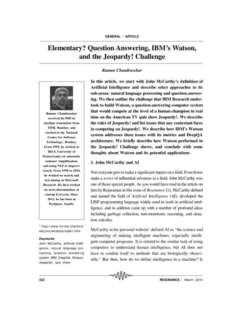 (PDF) Elementary? Question answering, IBM's Watson, and