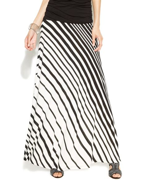 lyst inc international concepts striped maxi skirt in black