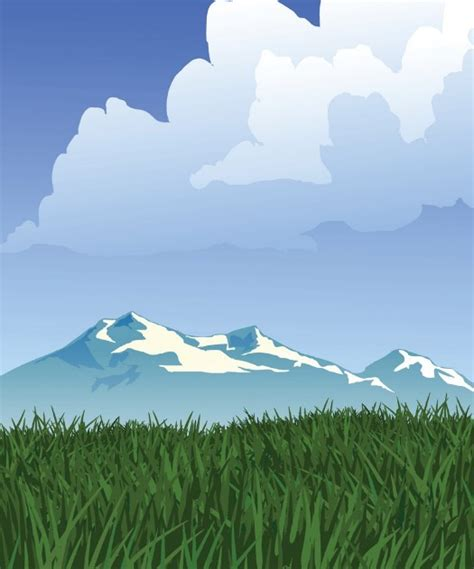 forests  snow capped mountains illustration vector