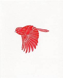 Red Linocut Flying Bird Woodblock Printmaking Art by ...