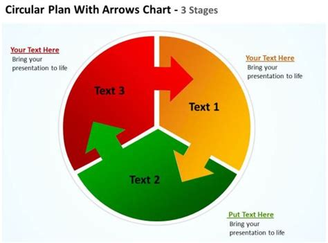 circular plan  arrows pointing   pie chart