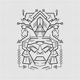 Mayan Vector Mask Premium sketch template
