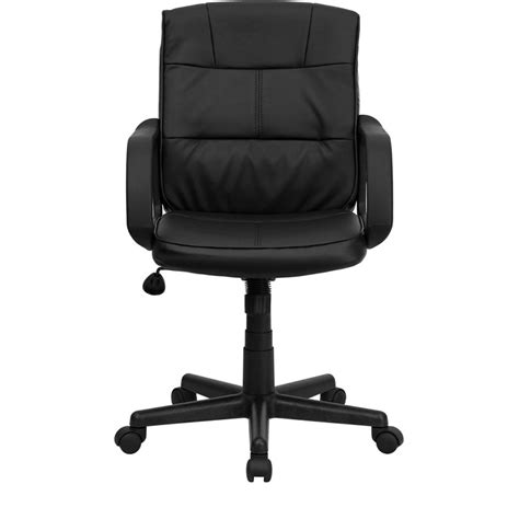eco friendly black leather mid back office chair with
