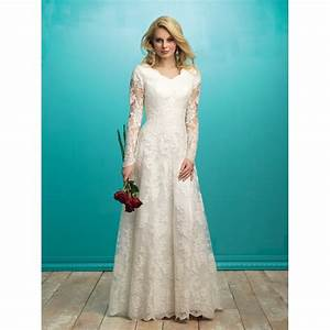 allure modest m541 long sleeve lace a line wedding dress With long sleeve modest wedding dresses
