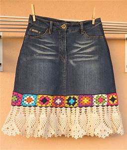 Recycled Denim Skirt with Crochet | Crochet Patterns and Tutorials