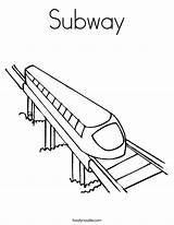 Coloring Train Subway Tunnel Template Noodle Twisty Station sketch template