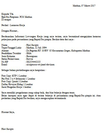 Contoh Surat Lamaran Pekerjaan Yang Ada Kop by Contoh Surat Lamaran Kepada Pos Indonesia Lulusan Sma Yang