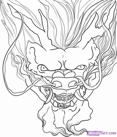 Dragon Chinese Head Draw Drawing Coloring Step
