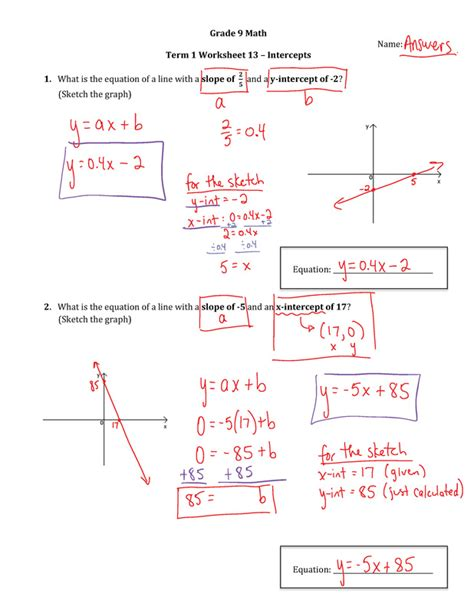grade 9 slope worksheets printable worksheets 187 slope worksheets with answers