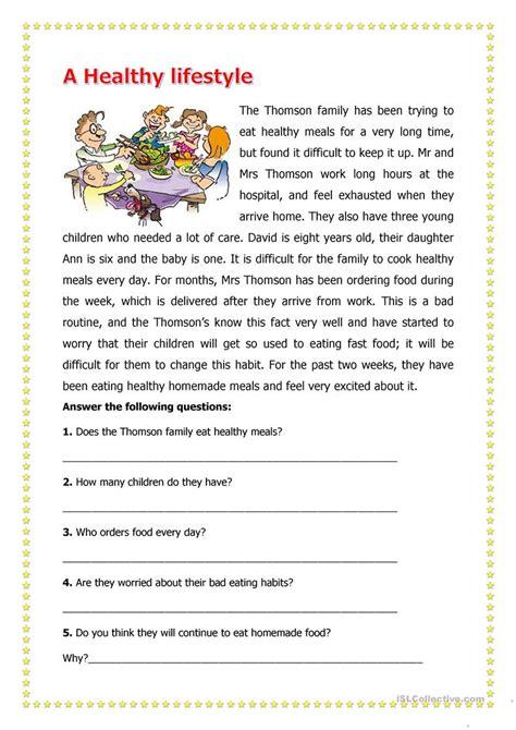 nutrition reading comprehension worksheets besto