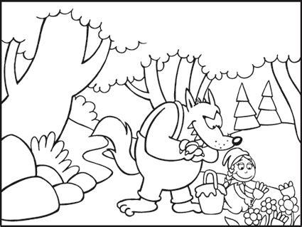 Favole per bambini disegni da colorare: Cappuccetto Rosso