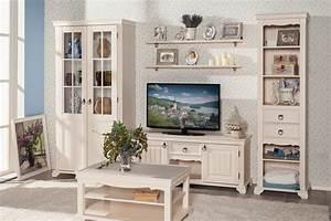 Wohnwand Im Landhausstil : amelie wohnwand set landhausstil in creme weiss 6 teilig ~ Orissabook.com Haus und Dekorationen