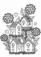 Coloring Garden Pages Flower Bird Gardens Birdhouse Colouring Houses Adult Print Printable Flowers Adults Gardening Alexander Drawing Tocolor Some Printables sketch template