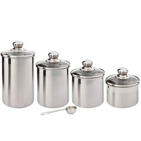 Stainless Steel Kitchen Canister by Silveronyx Canister Set Stainless Steel 4 Walmart
