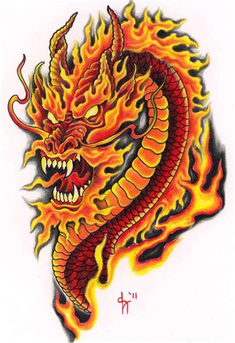 fire color dragon tattoo design