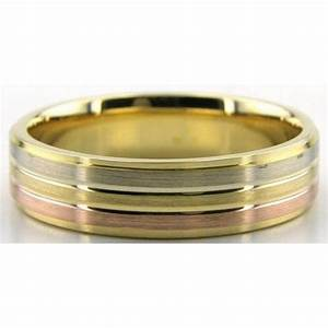 18k tri color rose yellow and white gold 6mm wedding With tri gold wedding rings