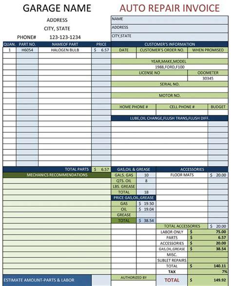 auto repair invoice template invoice