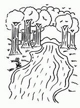 River Coloring Pages Printable Trees Kindergarten Camping Colouring Sheets Preschool Rivers Fun Printables Clouds Lake sketch template