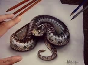 Snake Pencil Drawings 3D