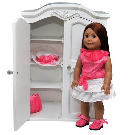 Doll Clothes Armoire by White Armoire Clothes Storage Trunk Furniture Fits 18 In