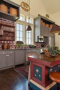 50 trendy and timeless kitchens with beautiful brick walls With kitchen colors with white cabinets with americana wall art