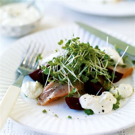 starter homes smoked trout with horseradish beetroot and cress