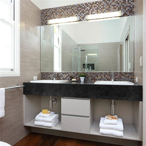 Tiled Bathroom Mirrors by Tile Frame Mirror With Green Knobs Bathroom Traditional