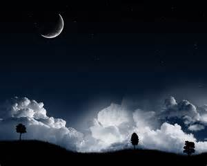 Night Moon and Stars