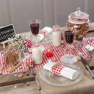 Set De Table Paille : chemin de table vichy en tissu blanc rouge ~ Teatrodelosmanantiales.com Idées de Décoration