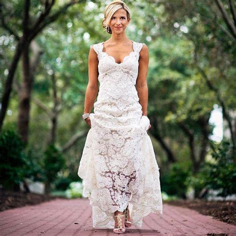 rustic chic wedding dress pretty floral lace rustic wedding dresses v neck cap sleeve country style lace wedding dress