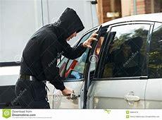 Thief Burglar At Automobile Car Stealing Stock Image