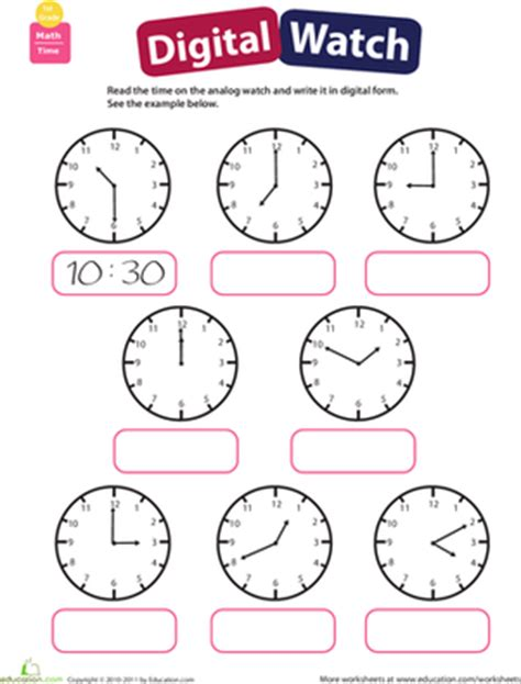 telling time practice reading clocks worksheet