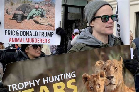 trump eric donald trophy animal nyc jr protest activists rights homes hunters hunting rally against worldwide during