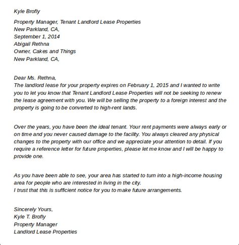 sample termination letters  landlord lease termination