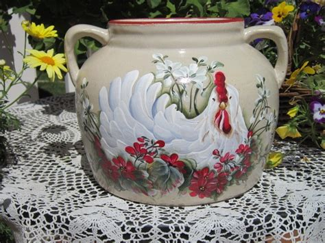 Vintage Stoneware Crock Cookie Jar Hand Painted Hp Rooster