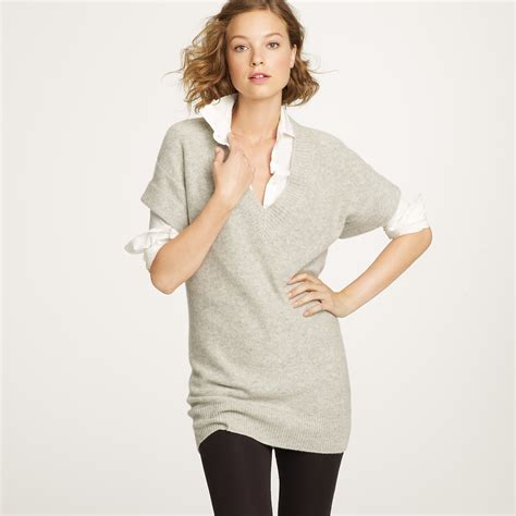 sweater shorts j crew sleeve v neck sweater in gray lyst