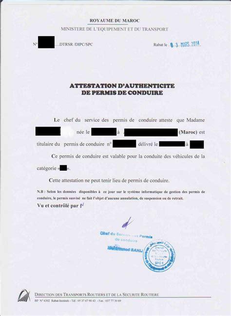 attestation permis de conduire formulaire mariage franco marocain