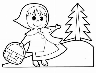 Coloring Hood Riding Pages Clipart Sheets Drawing