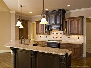 Pictures of kitchens traditional two tone kitchen for Kitchen remodels ideas