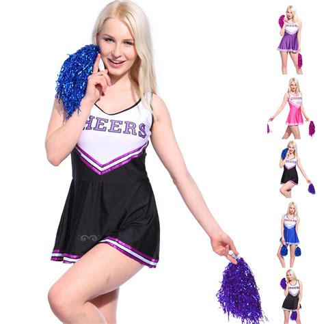 Sexy High School Cheerleader Costume Cheer Girls Uniform Party Outfit w/ Pompoms | eBay