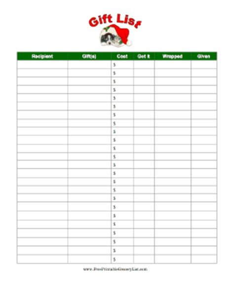 buying gifts tracker sheet printable gift list