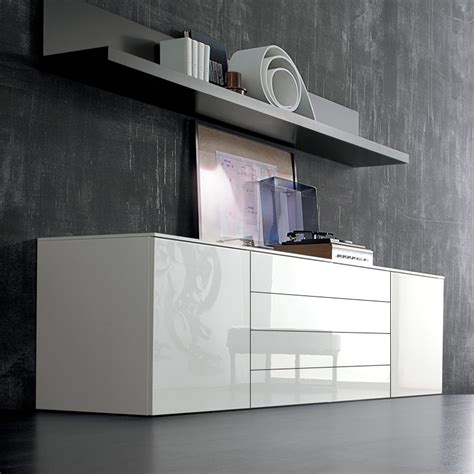 High Sideboard by Space White Large High Gloss Sideboard 240cm